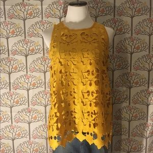 LOFT Lace Overlay Sleeveless Knit Top